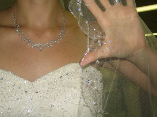 Veil beading and scallop detail