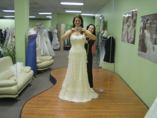 Proud seamstress, elated bride-to-be